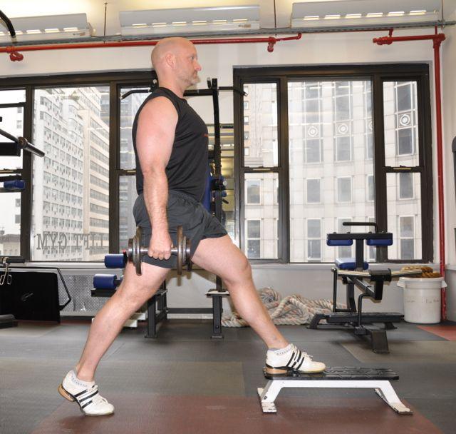 DB Split Squat Front Foot Elevated, Step-1