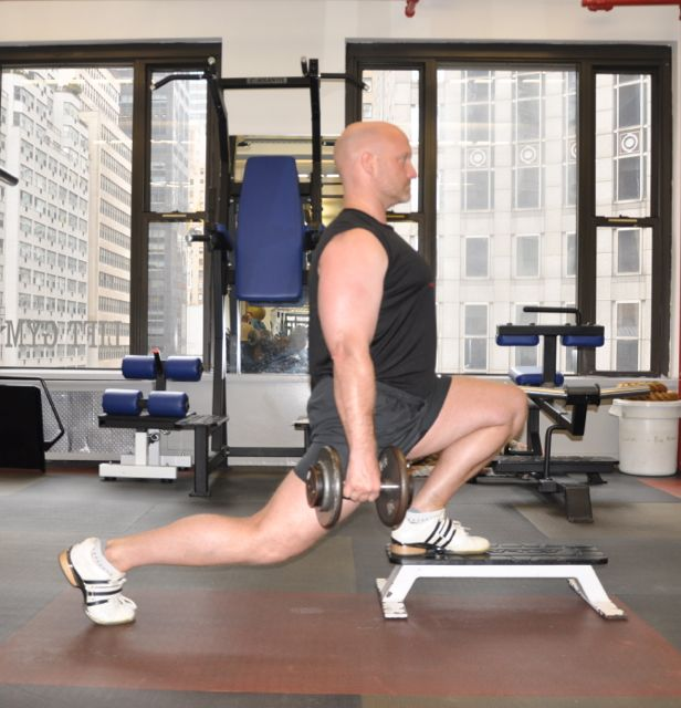 DB Split Squat Front Foot Elevated, Step 2