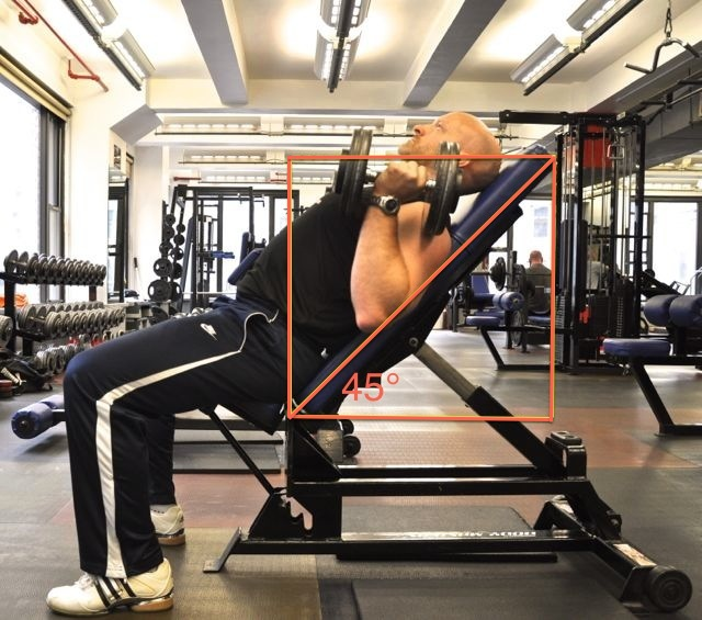 """If the imaginary vertical and horizontal lines around a bench look like a square, the bench is at 45° of incline."""