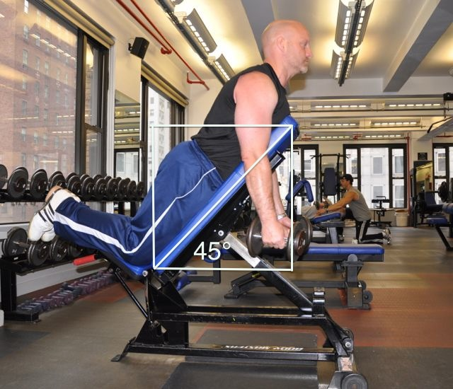 """""""If the imaginary vertical and horizontal lines around a bench look like a square, the bench is at 45° of incline."""""""