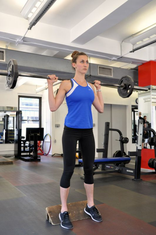 Barbell Back Squat Heels Elevated, step 1